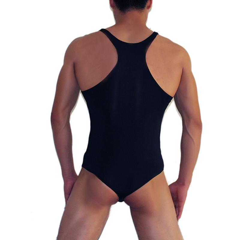 Sexy Nylon Solid Color Vest Back Open Breathable Plain Jumpsuit Leotard for Men