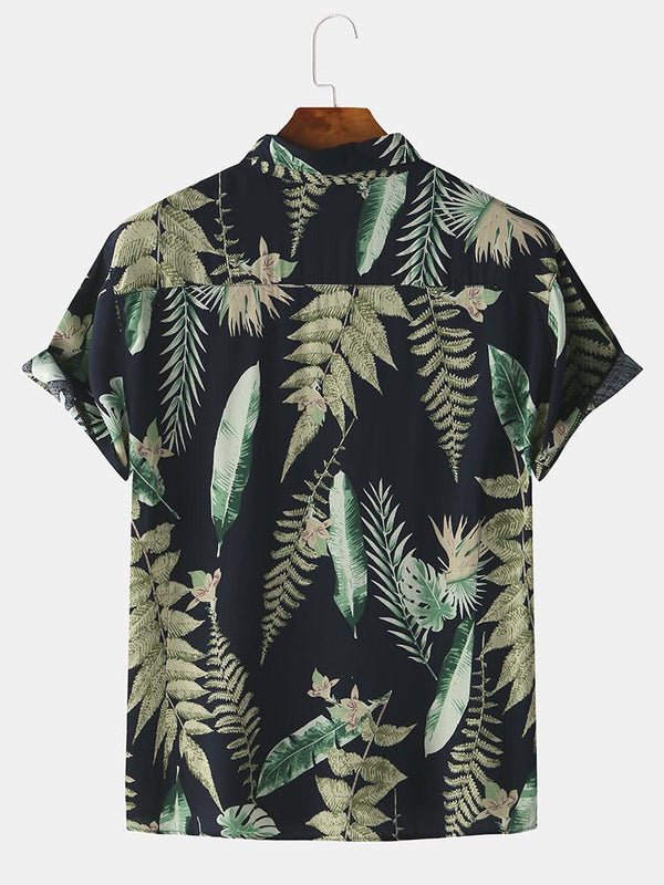 Mens Tropical Rainforest Leaf Short Sleeve Shirts