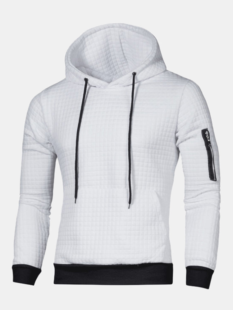 Mens Square Jacquard Pattern Long Sleeve Slim Fit Casual Sports Hoodies
