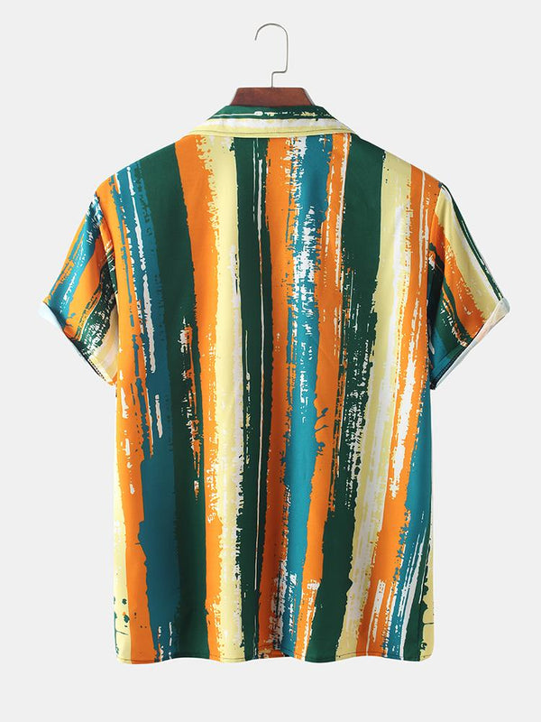 Men Watercolor Striped Tie-dye Printed Casual Slim Shirt