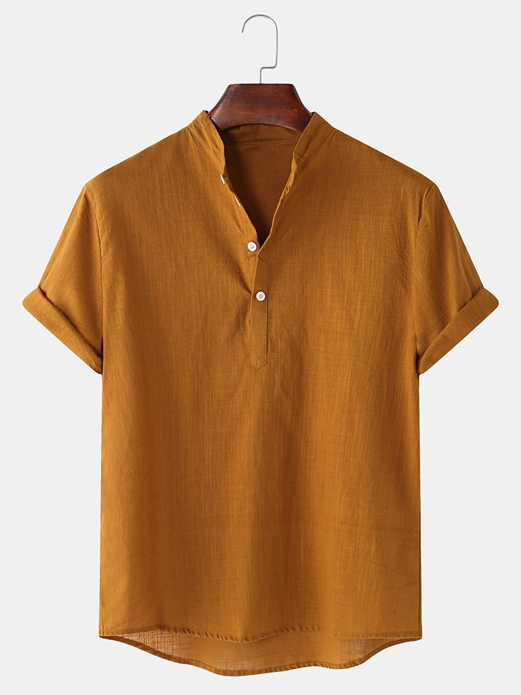 Mens Breathable Flax Stand Collar Short Sleeve Solid Henley Shirt