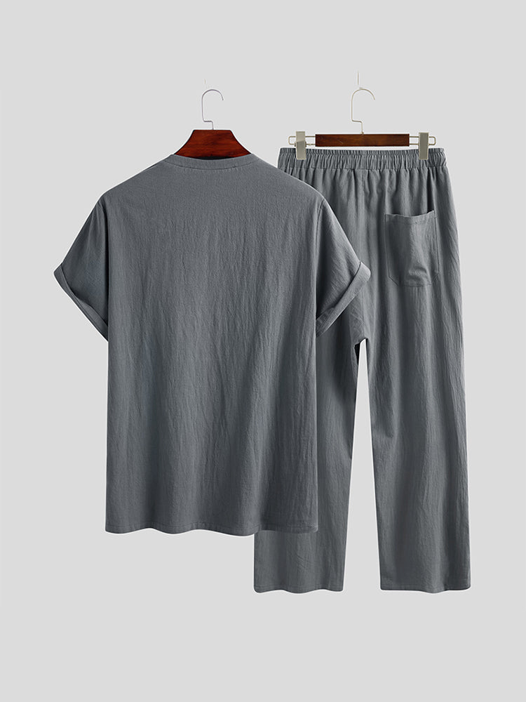 Mens Loose Breathable Casual Cotton Linen Crew Neck Short Sleeve Vintage Button T-Shirts Pants Suit
