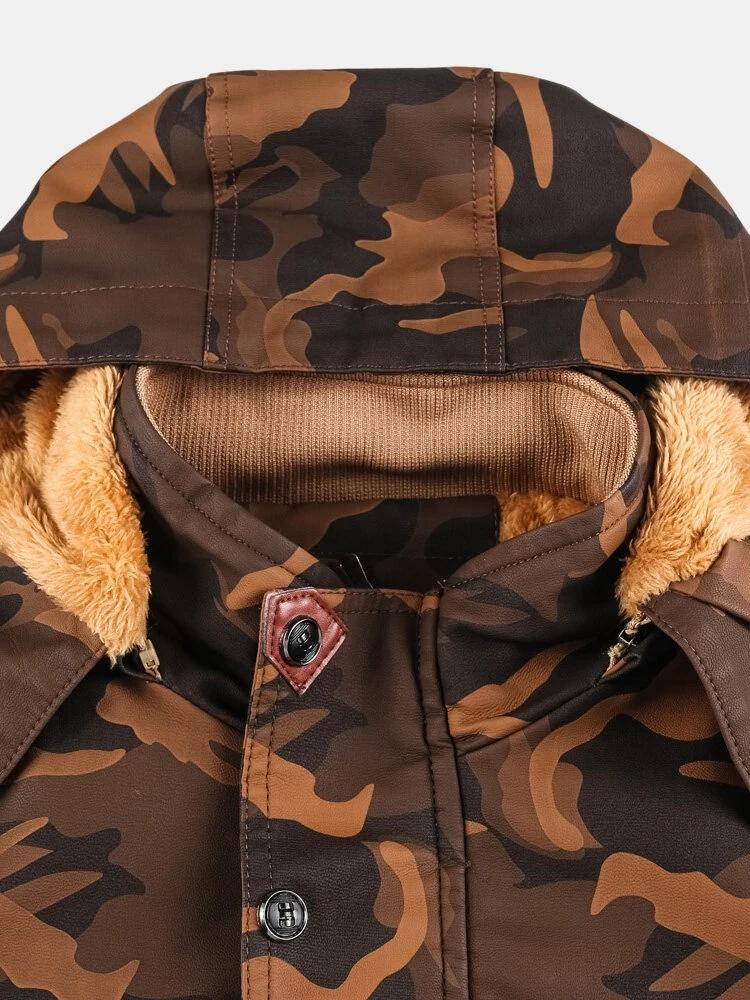 Mens Camo PU Leather Fur Lined Warm Drawstring Waist Pocket Thicken Jackets