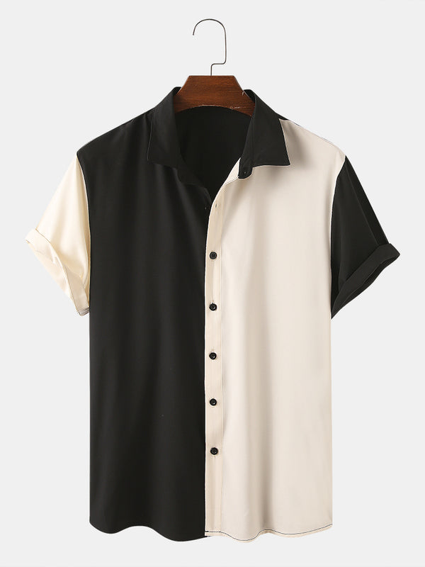 Men Asymmetric Color Matching Casual Short Sleeve Shirt