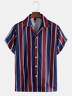 Men Red-blue Striped Print Casual Short Sleeve Shirt