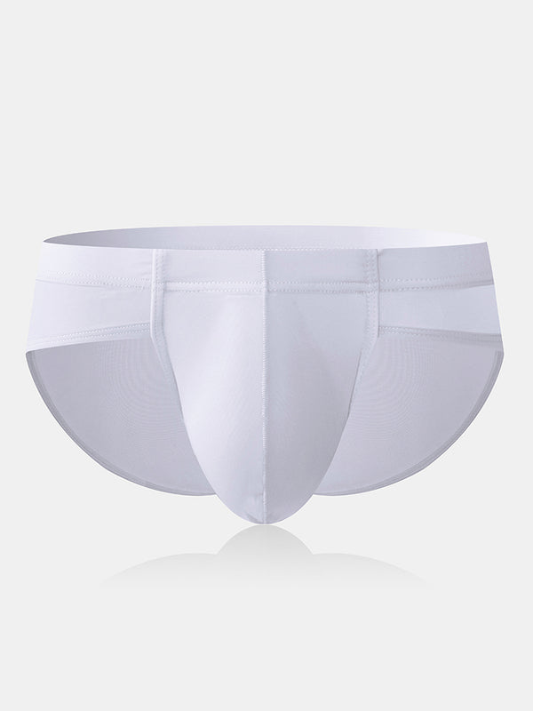 Men Sexy Pouch Briefs Plain Thin Transparent Breathable Low Rise Underwear