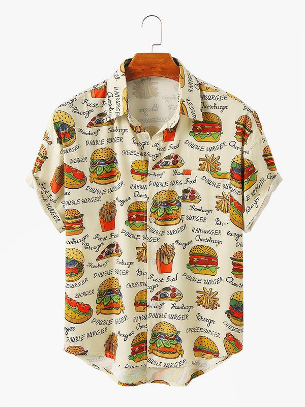 Mens Funny Cartoon Hamburger Printed Short Sleeve Lapel Collar Shirt