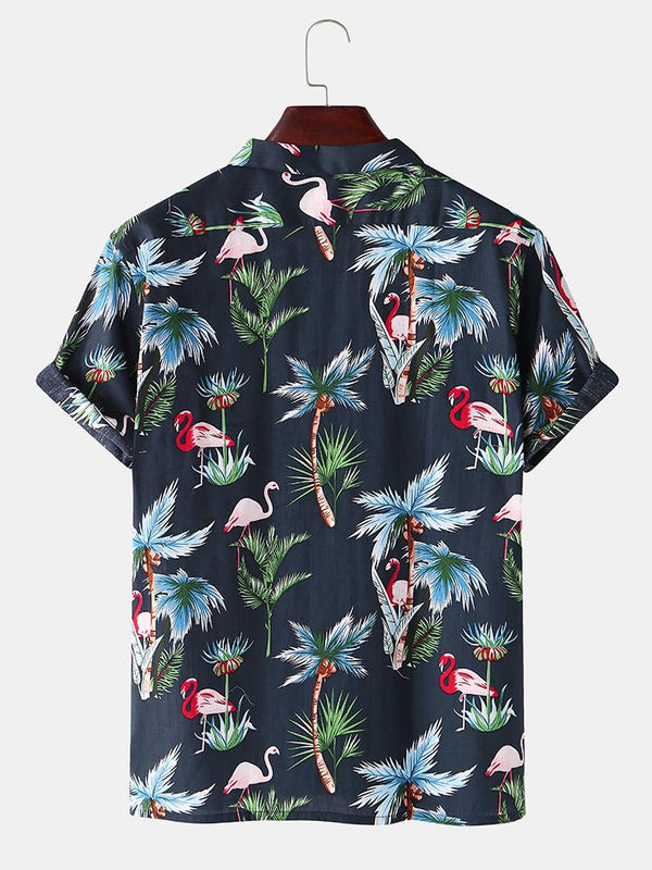 Mens Holiday Flamingo Plant Printed Chest Pocket Short Sleeve Shirt