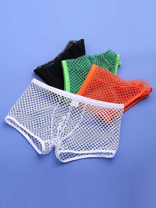 Men Sexy Net See Through Boxer Briefs Fishnet Nylon Thin Breathable Plain Sexy Underwear