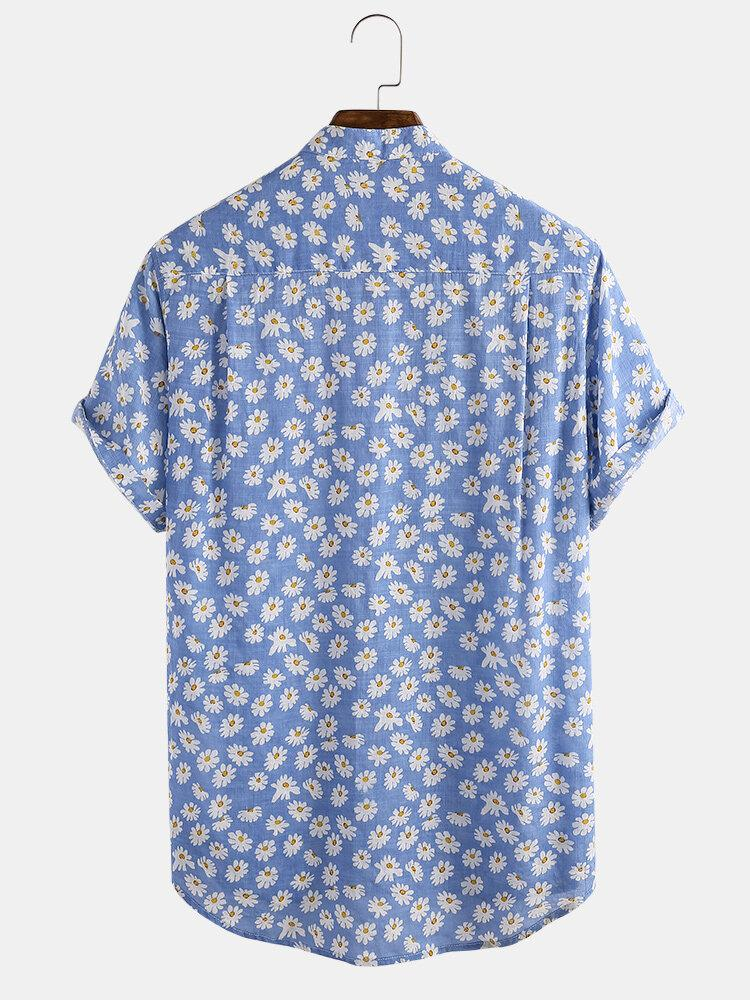 Daisy Spray Floral Printed Cotton Holiday Short Sleeve Henley Shirt For Men Women