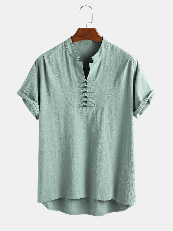Men 100% Cotton Oriental Button Short Sleeve Casual Henley Shirt