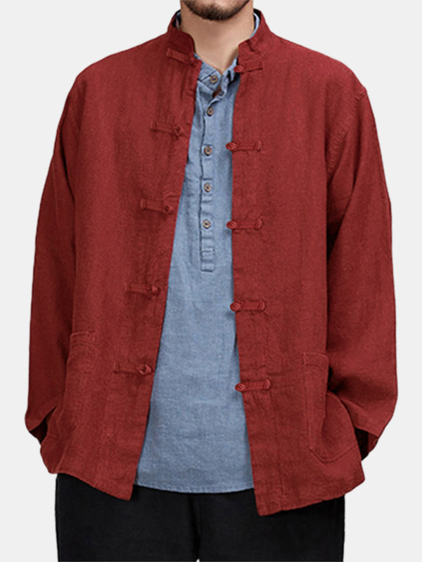 Mens Vintage 100% Cotton Chinese Vintage Knot Button Long Sleeve Shirts