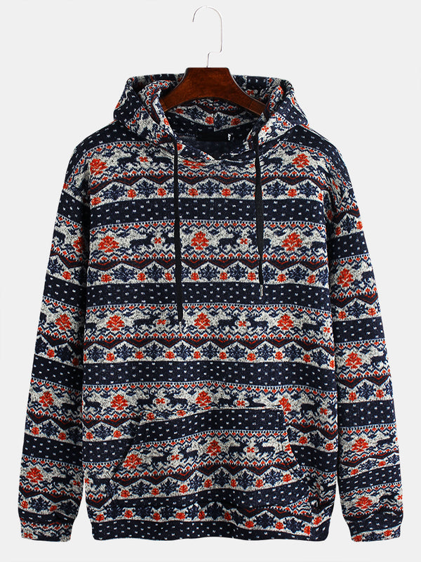 Mens Ethnic Style Cute Elks Printing Long Sleeve Slim Fit Hoodies