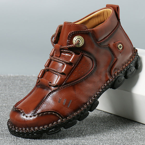 Mennico Men Vintage Hand Stitching Non Slip Soft Casual Leather Boots