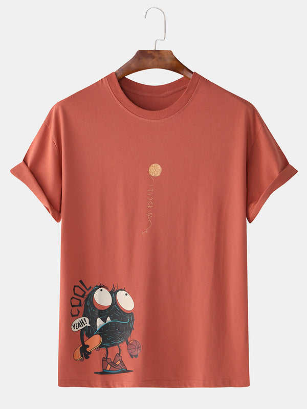 Men 99% Cotton Fun Cartoon Monster Print Round Neck Casual Loose T-Shirts