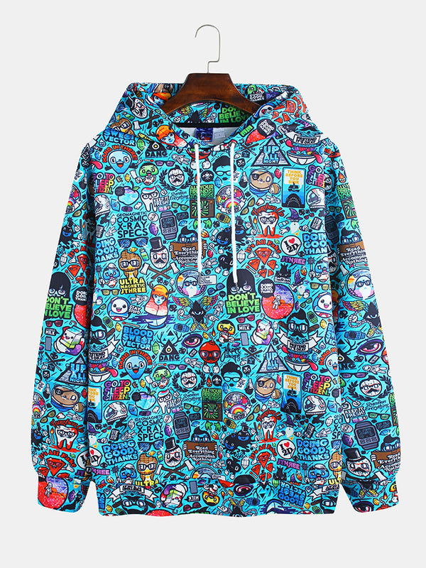 Mens Funny Cartoon Floral Muff Pocket Drawstring Casual Hoodies