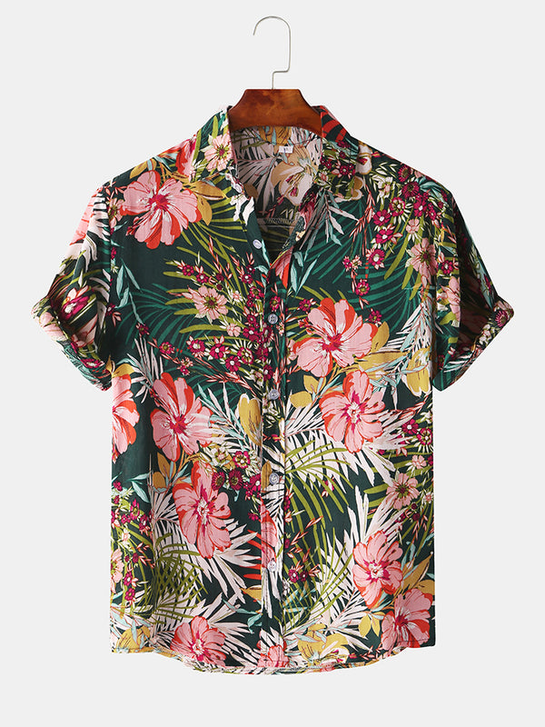 Mens Floral Oil Printting Short Sleeve Shirts