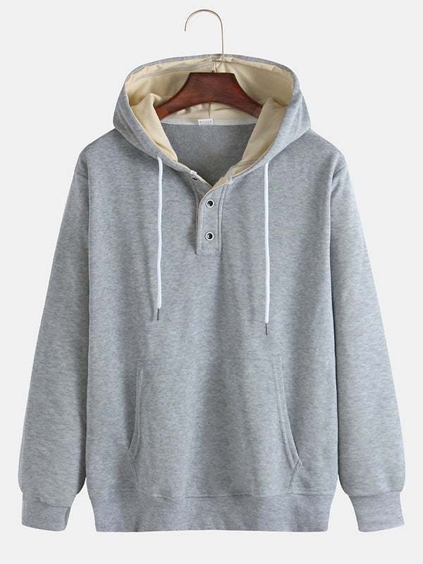 Mens Plain Cotton Solid Color Muff Pockets Drawstring Hoodies