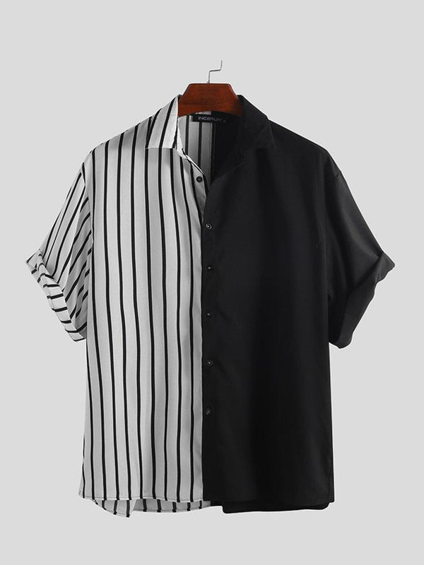 Mens Cool Patchwork Stripe Contrast Color Casual Short Sleeve Shirts