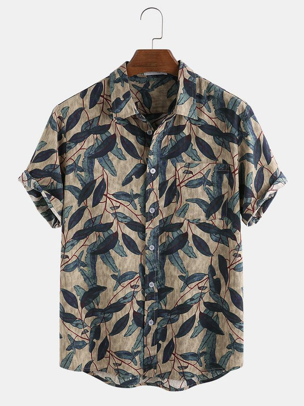 Mens Vintage Gentlemenloke 100% Cotton Branches Printed Chest Pocket Shirts