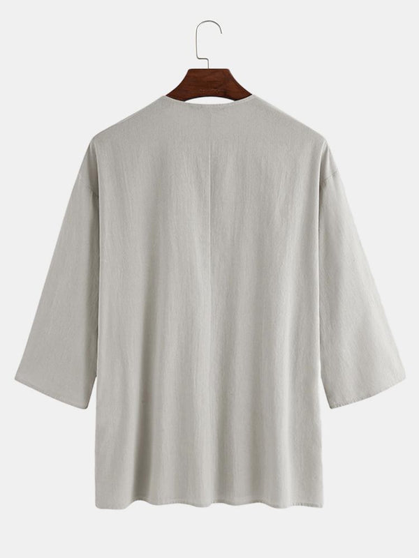 Mens 100% Cotton Breathable Oriental Solid Collar Loose 3/4 Sleeve T-Shirt