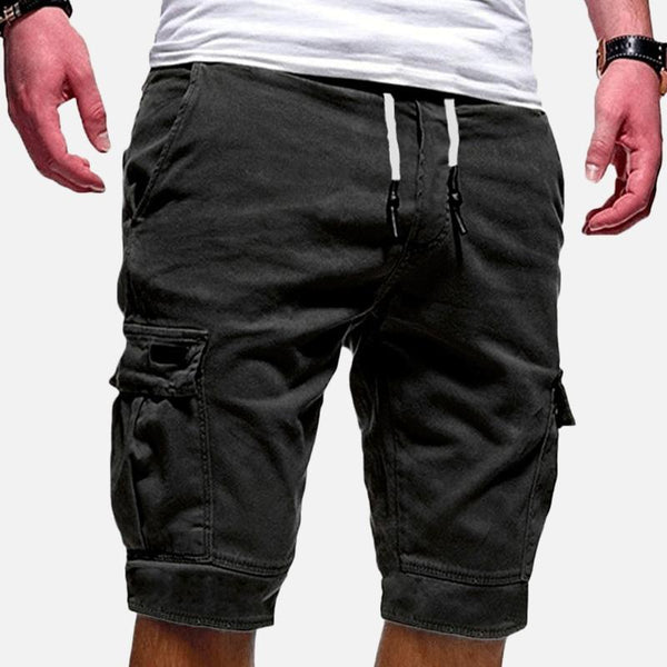 Mens Casual Multi Pockets Drawstring Waist Outdoor Sports Cargo Shorts