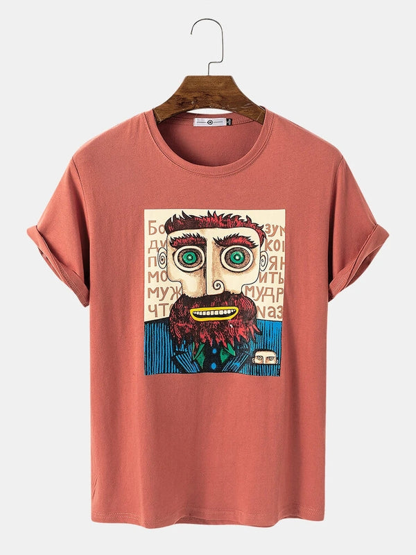 Men Cotton Cartoon Character Printed Casual T-Shirt