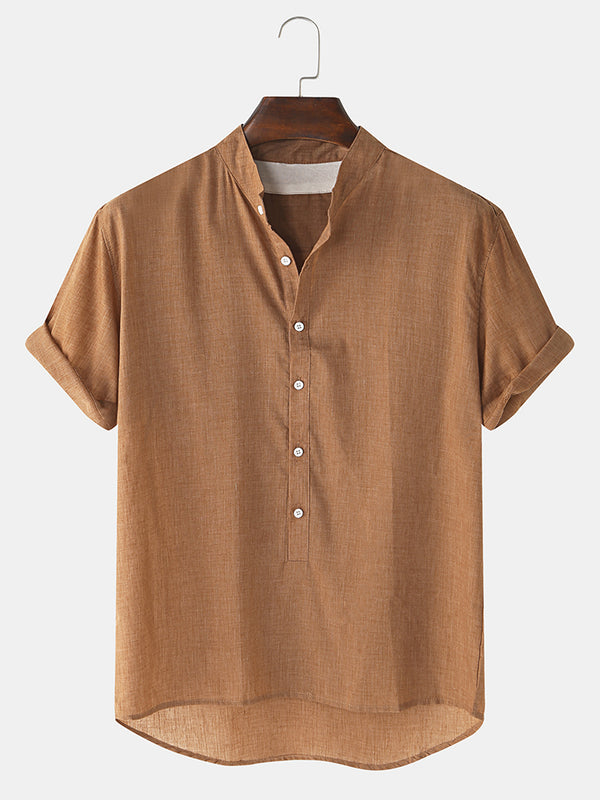 Men Cotton Plain Casual Hem Henley Shirt