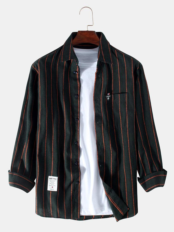 Mens Plain Stripe Little Tag Chest Pockets Long Sleeve Shirts