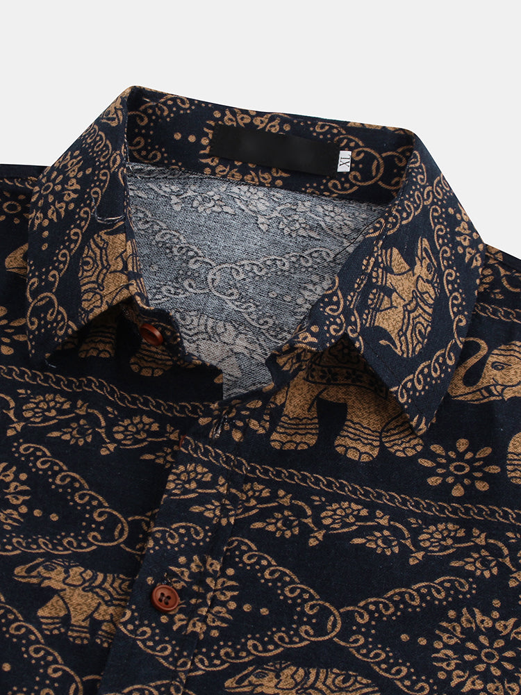 Men Ethnic Style Printed Floral Button Casual Long Sleeve Lapel Collar Slim Shirts