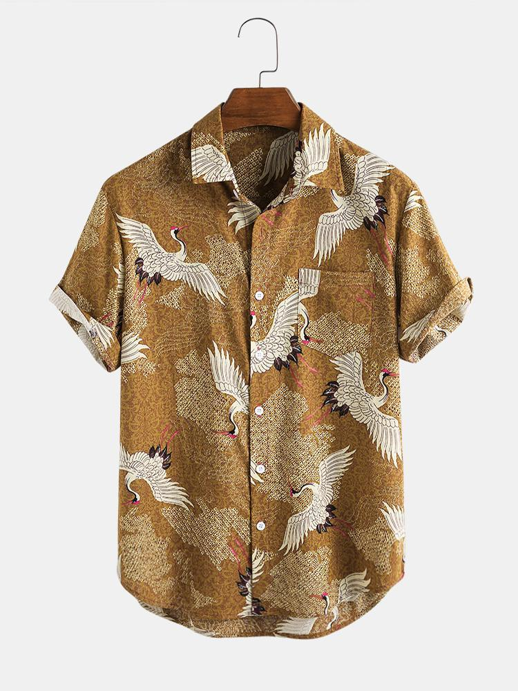 Mens Chinese Classical Style Red-Crowned Crane Short Sleeve Shirts