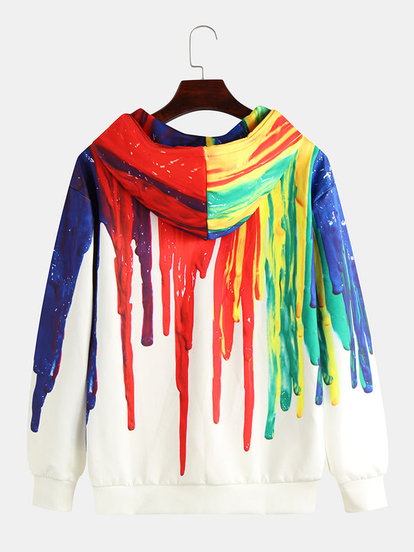 Mens Colorful Graffiti Printed Long Sleeve Pocket Casual Hoodies