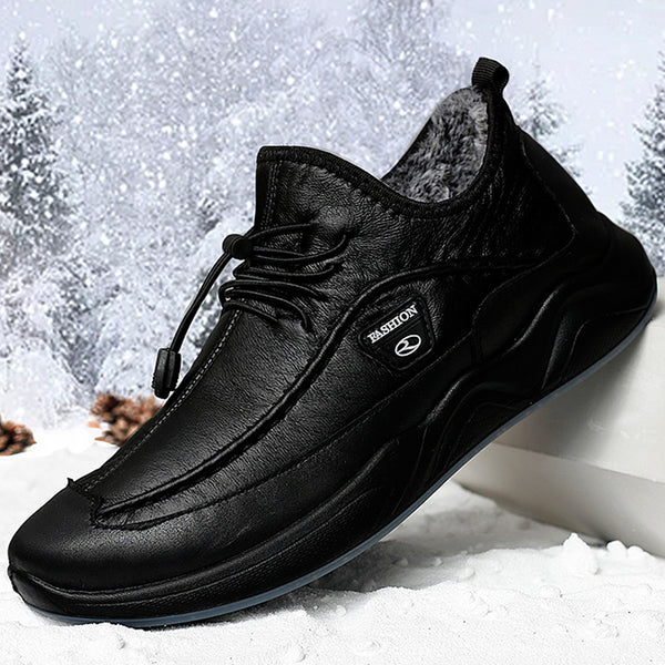 Men Plush Lining Warm Elastic Lace Non Slip Casual Leather Shoes