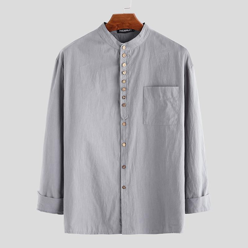 Mens Brief Style Cotton Solid Color Long Sleeve Shirts