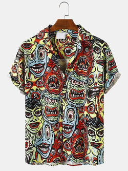 Mens Abstract Character Print Casual Loose Light Short Sleeve Shirts