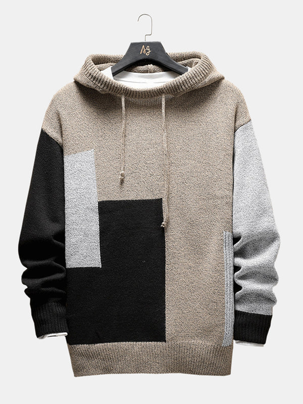 Mens Hit Color Long Sleeve Drwastring Hoodie Comfy Sweater