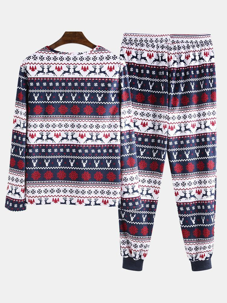 Mens Two-Pieces Christmas Pajamas Sets Peers Fairisle Print Holiday O Neck Sleepwear Loungewear