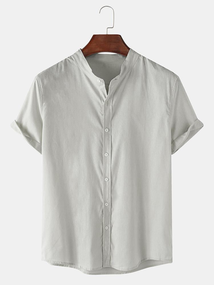 Mens Breathable Flax Stand Collar Solid Color Short Sleeve Shirt