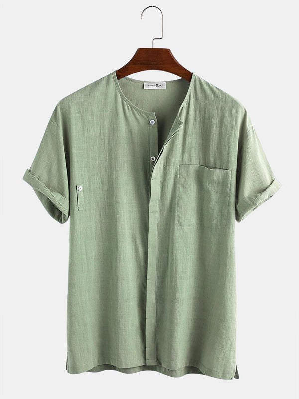 Mens 100% Cotton Solid Color Chest Pocket Hidden Button Casual Shirt
