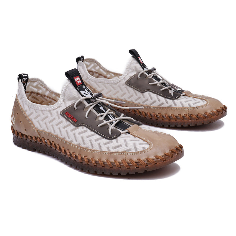 Menico Men Mesh Splicing Breathable Soft Hand Stitching Lace Up Water Shoes