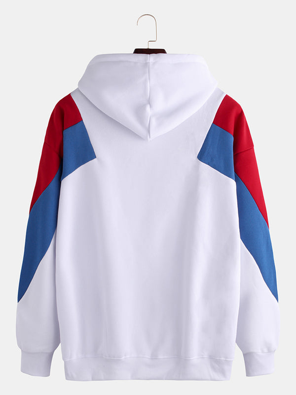 Mens Hit Color Patchwork Pocket Long Sleeve Drawstring Casual Hoodies