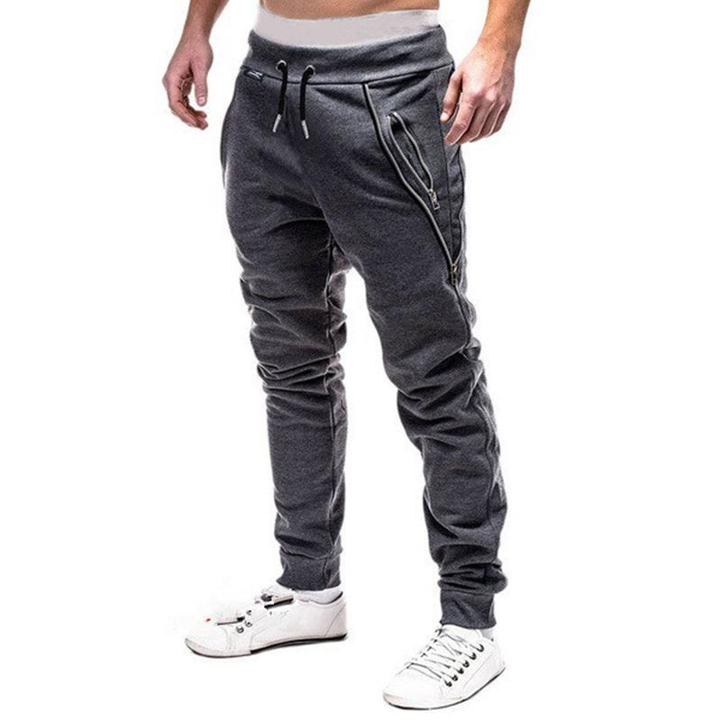 Casual Elastic Waist Double Zipper Pocket Drawstring Sport Pants For Men