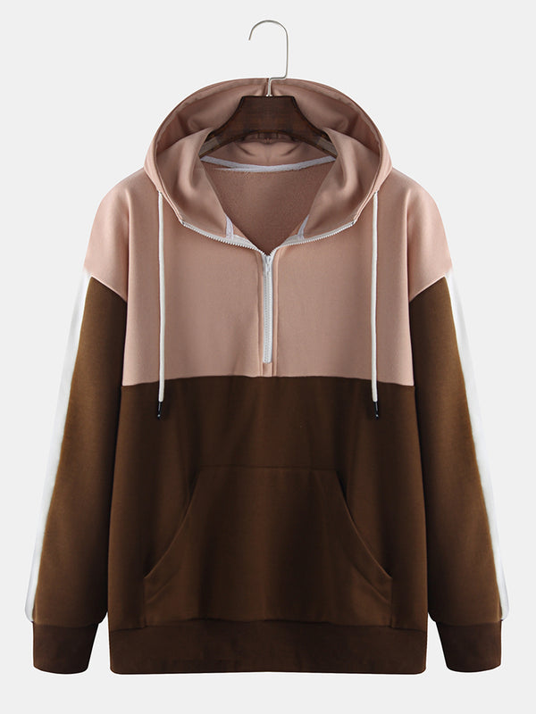 Mens Streetwear Contrast Color Block Patchwok Zipper Collar Hoodie