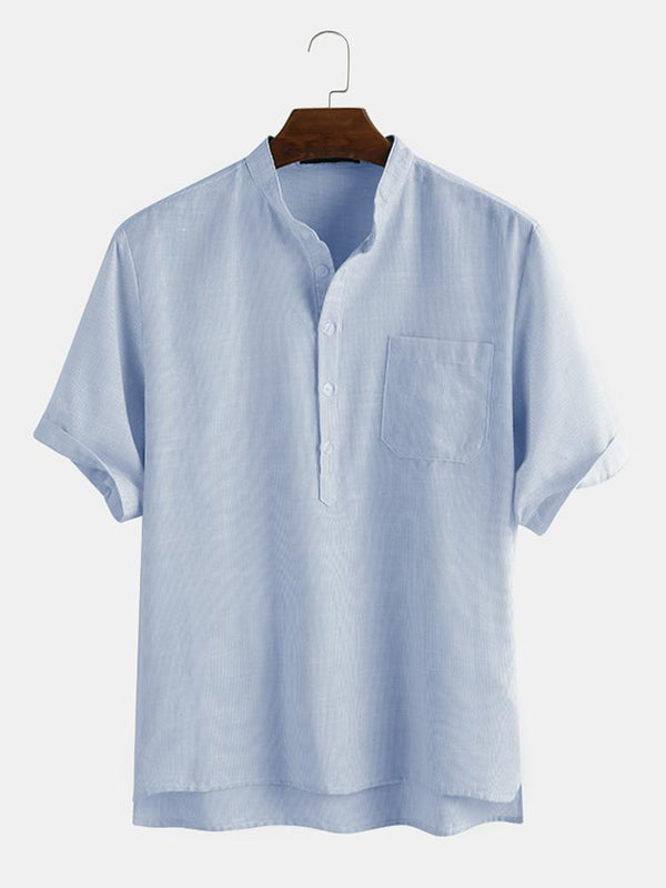 Mens Cotton Solid Color Pinstripe Stand Collar Casual Short Sleeve Shirt