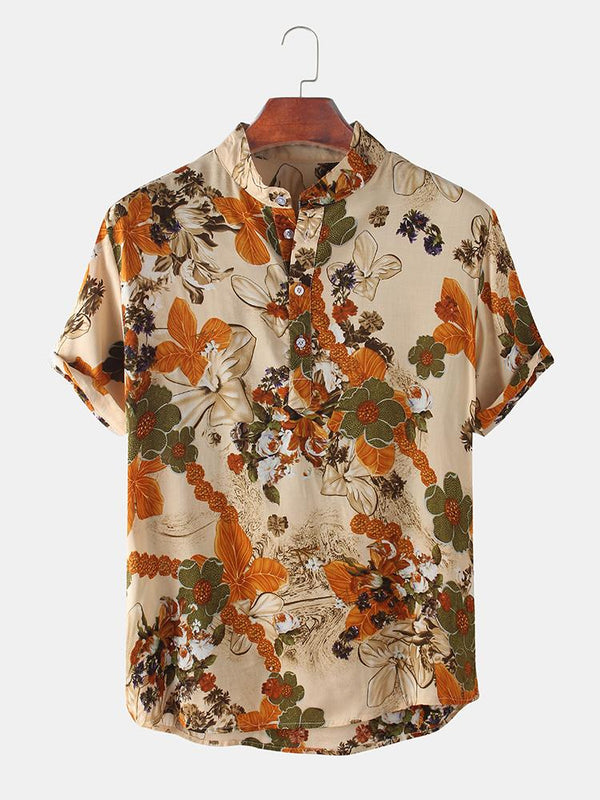 Mens Floral Printed Stand Collar Casual Short Sleeve Henley Shirts