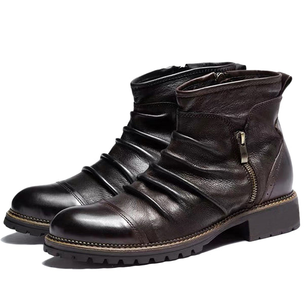 Men Retro Color Leather Non Slip Side Zipper Casual Boots