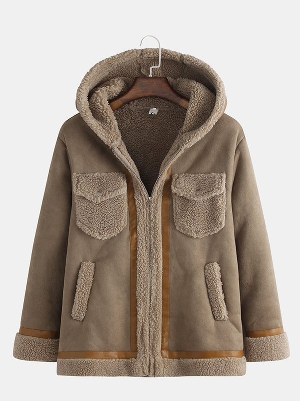 Mens Leather Suedes Patchwork Thickened Fleece Lined Warm Hooded Outerwears Coats