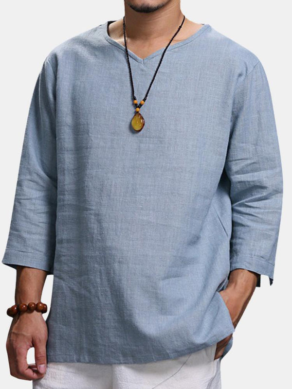 Mens Vintage Chinese Style Solid Color V-neck Half Sleeve Loose Casual T Shirts