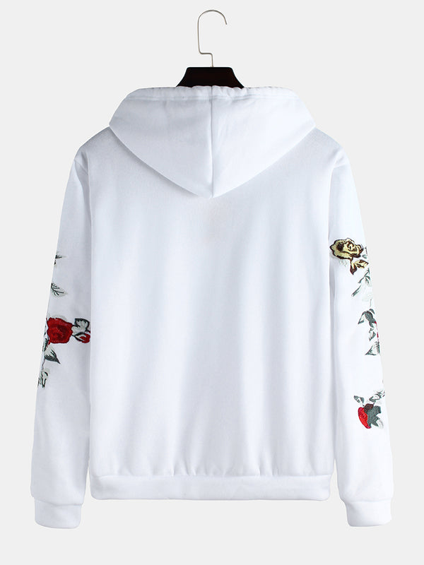 Mens Brief Style Floral Embroidered Muff Pocket Long Sleeve Hoodies