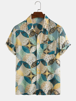 Mens Floral Printed Breathable Short Sleeve Casual Shirts